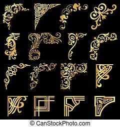 éléments, or, vendange, mettez stylique, coins, frontières