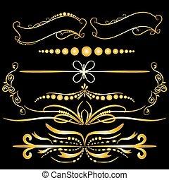 éléments, ornements, or, couleur, vendange, calligraphic, flourishes, décorations, arrière-plan noir, cadres