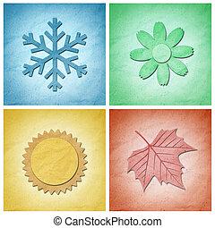 éléments, papier, recycler, saisons, quatre, métier