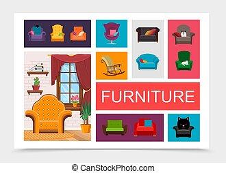 éléments, plat, meubles, composition