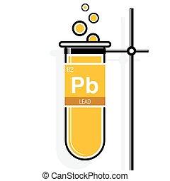 éléments, plomb, holder., symbole, -, nombre, jaune, étiquette, essai, périodique, 82, table, élément, tube, chimie
