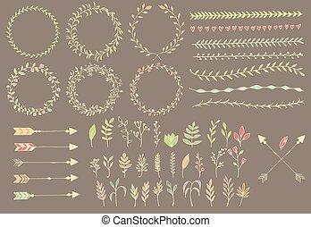 éléments, plumes, diviseurs, main, flèches, vendange, floral, dessiné