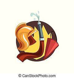 éléments, pompier, pompier, profession, illustration, symboles, vecteur, dessin animé