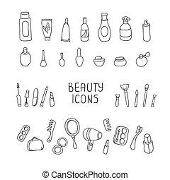 éléments, produits, makeup., beauté, produits de beauté, ensemble, icons., vecteur, vendange, illustration., beau