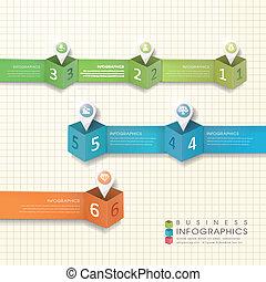 éléments, résumé, papier, moderne, marque, emplacement, infographic