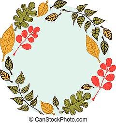 éléments, rond, automne