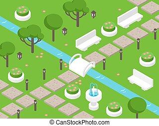 éléments, scène, jeu, pelouses, arbres, parc, vecteur, carte, isométrique, paysage, beau, bancs, vert, vue, above., jardin, ou, illustration., perspective