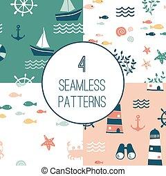 éléments, seamless, motifs, conception, 4, nautique