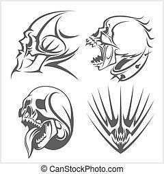 éléments, set., crânes, tribal
