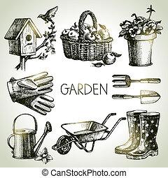 éléments, set., jardinage, croquis, conception, main, dessiné