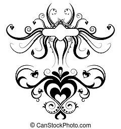 éléments, silhouette, vecteur, conception, floral, ton