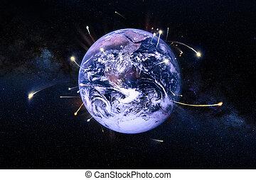 éléments, spaceships, meublé, ceci, science, image, nasa., congé, fiction., la terre