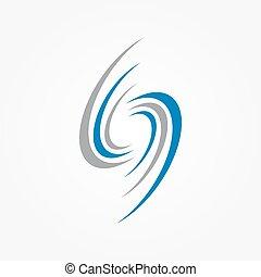 éléments, spirale, logo, tourbillons, conception