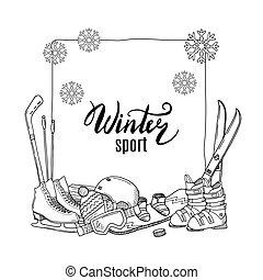 éléments, sports hiver, équipement, vecteur, dessiné, main