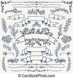 éléments, stylo, vecteur, conception, floral, rubans, dessin