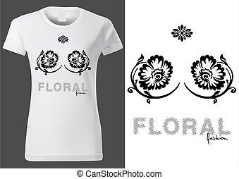 éléments, t-shirt, conception, floral