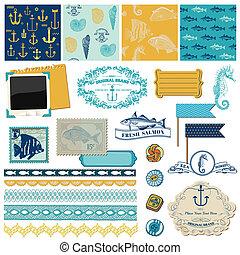 éléments, -, thème, vecteur, conception, mer, nautique, album