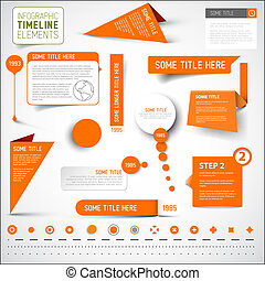 éléments, timeline, /, infographic, gabarit, orange