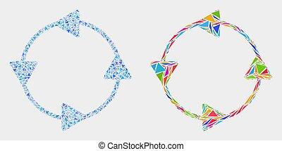 éléments, triangle, circulation, ccw, flèches, vecteur, mosaïque, icône