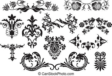 éléments, utile, vendange, -, isolé, embellir, calligraphic, conception, fond, floral, disposition, blanc, ton