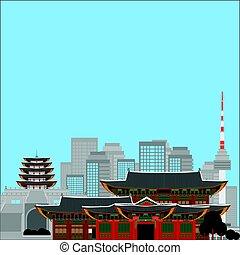 Clipart vecteur de architecture asiatique - exotique, ville ...