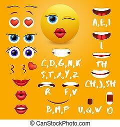 éléments, vecteur, bouche, femme, conception, animation, emoji