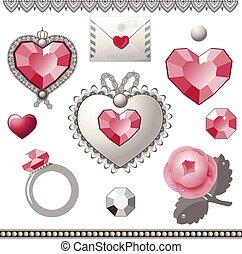 éléments, vecteur, collection, day., valentine