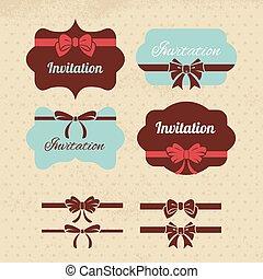éléments, vendange, étiquettes, collection, arcs, conception, rubans