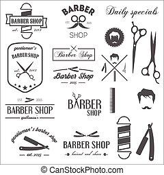 éléments, vendange, étiquettes, collection, salon coiffure, logotypes, retro