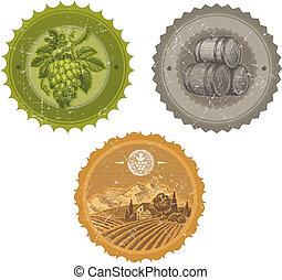 éléments, vendange, étiquettes, -, main, vecteur, viticulture, dessiné, winemaking