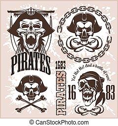 éléments, vendange, étiquettes, pirate, conception, retro,...