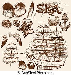 éléments, vendange, collection, main, thème, mer, dessiné