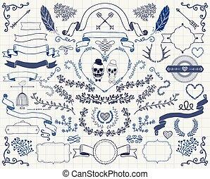 éléments, vendange, main, vecteur, conception, griffonnage, dessiné