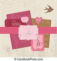 éléments, vendange, mariage, -, vecteur, conception, album, invitation