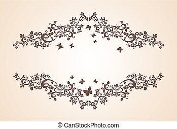 éléments, vendange, ornement, salutation, invitation, floral, ou, carte