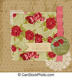 éléments, vendange, -, vecteur, conception, album, fleurs, page