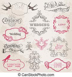 éléments, vendange, -, vecteur, conception, mariage, cadres