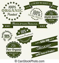 éléments, vieux, organique, vendange, vecteur, retro, ...