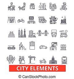 éléments, ville, architecture, strokes., conception, signes, règlement, ville, concept., isolé, district, blanc, plat, linéaire, symbole, editable, icons., illustration, fond, ligne, urbain, vecteur, transport