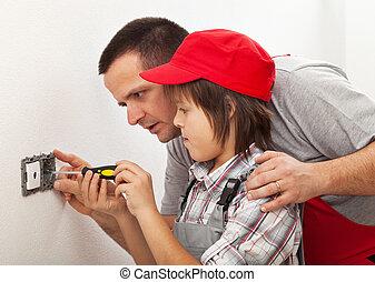 élémentsessentiels, autour de, travail foyer, père, fils, électrique, enseignement