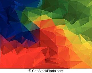 élénk, szín, polygonal, mózesi, háttér, vektor, ábra, ügy,...