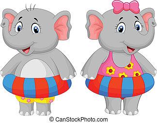 éléphant, à, anneau gonflable