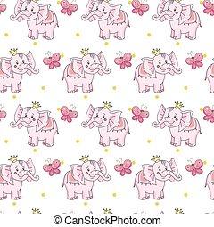 éléphant, bébé, papillon, jaune, dessin animé, rose, couronne