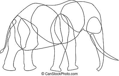 éléphant, corps, lignes, parties