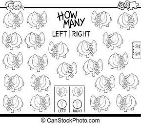 éléphant, dénombrement, gauche, droit, image, couleur, livre