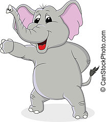éléphant, dessin animé, à, main, onduler