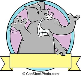 éléphant, dessin animé, banner.
