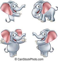 éléphant, dessin animé, masoct