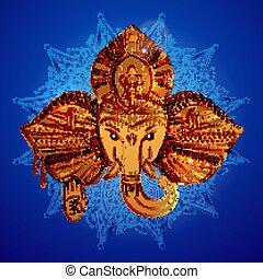 éléphant, dieu, tête, ganesh., indien