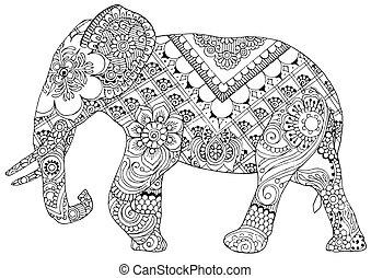 éléphant, motifs, indien
